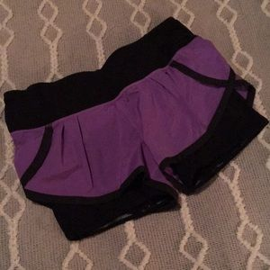 LULULEMON purple and black running shorts